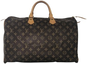 Louis Vuitton Lv Speedy Speedy 40 Monogram Top Handle Satchel in Brown
