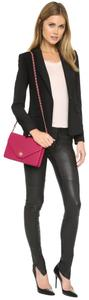 Tory Burch Red Leather Gold Crossbody Raspberry Clutch