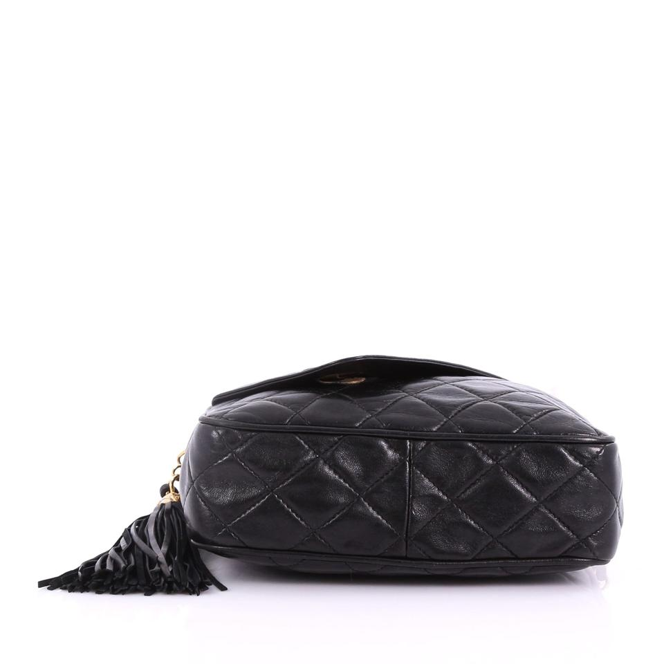 13db25bef924 Chanel Camera Vintage Front Pocket Quilted Small Black Leather Cross ...