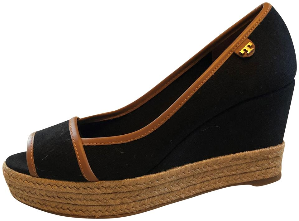 9b07a2e6c9b Tory burch navy canvas and espadrille mule sandals in navy royal tan wedges  size us regular