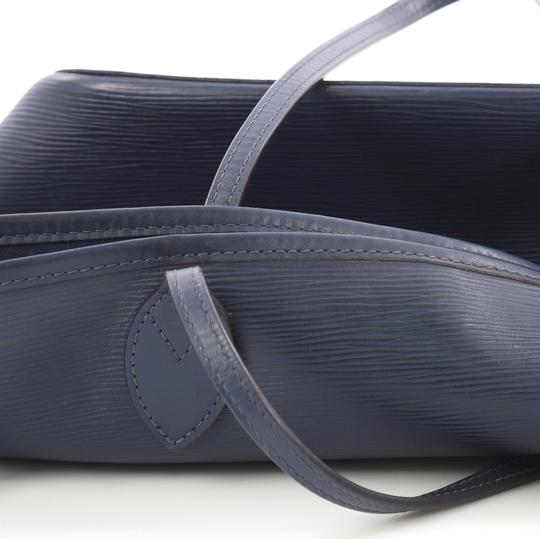 Louis Vuitton Neverfull Leather Tote in navy blue