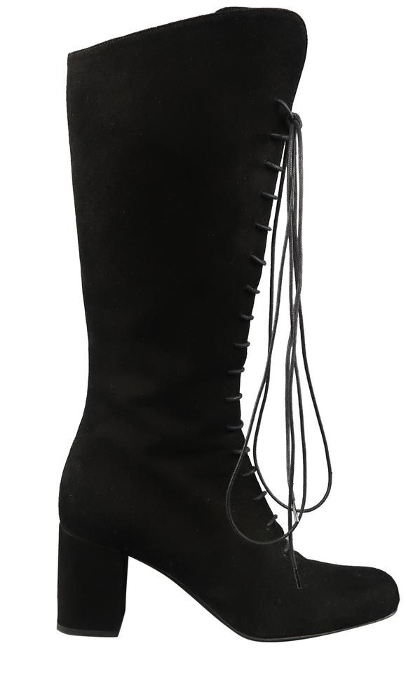 b07b290663e Saint Laurent Black Lace Up Babies Knee High Boots Booties Size US ...