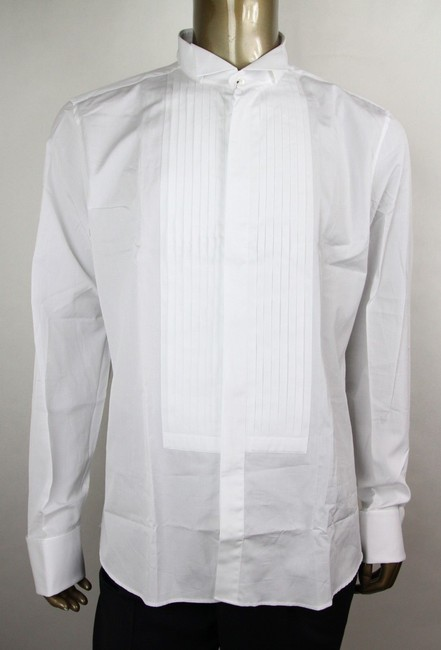 Item - White Men's Cotton Slim Pleated Tuxedo 47/18.5 310064 21131 9000 Shirt