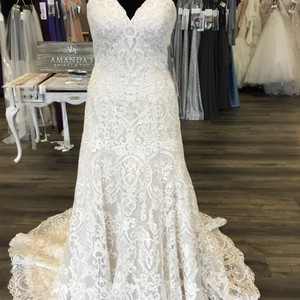 Mori Lee Ivory/Champagne Lace Monroe 8178 Traditional Wedding Dress Size 6 (S)