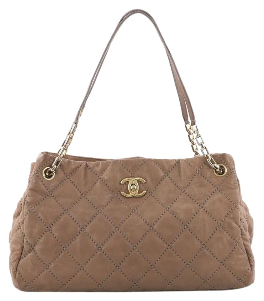 9c3bd5ee21b4c7 Chanel Retro Chain Quilted Medium Brown Calfskin Leather Tote - Tradesy