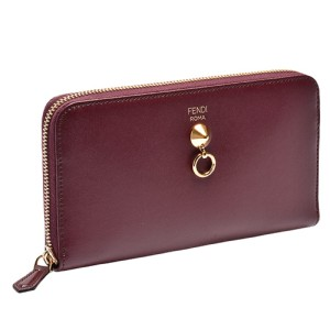 Fendi Fendi By The Way Burgundy Leather Full Zip Wallet 8M0299-F0KZU