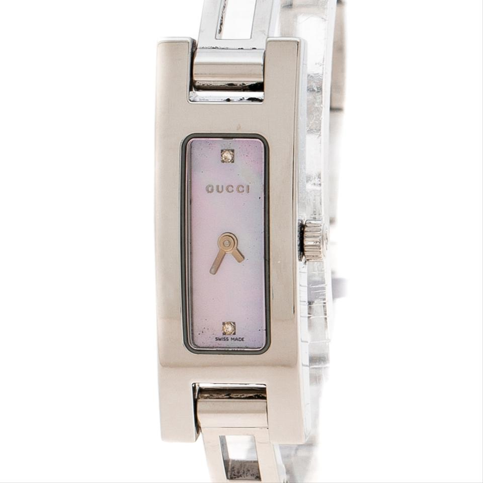 3e16a6b97e2833 Gucci Pink Mother Of Pearl Stainless Steel and Diamond 3900l Watch ...