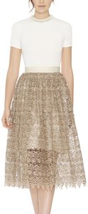 Alice + Olivia And Almira Sequin Lace Skirt Gold