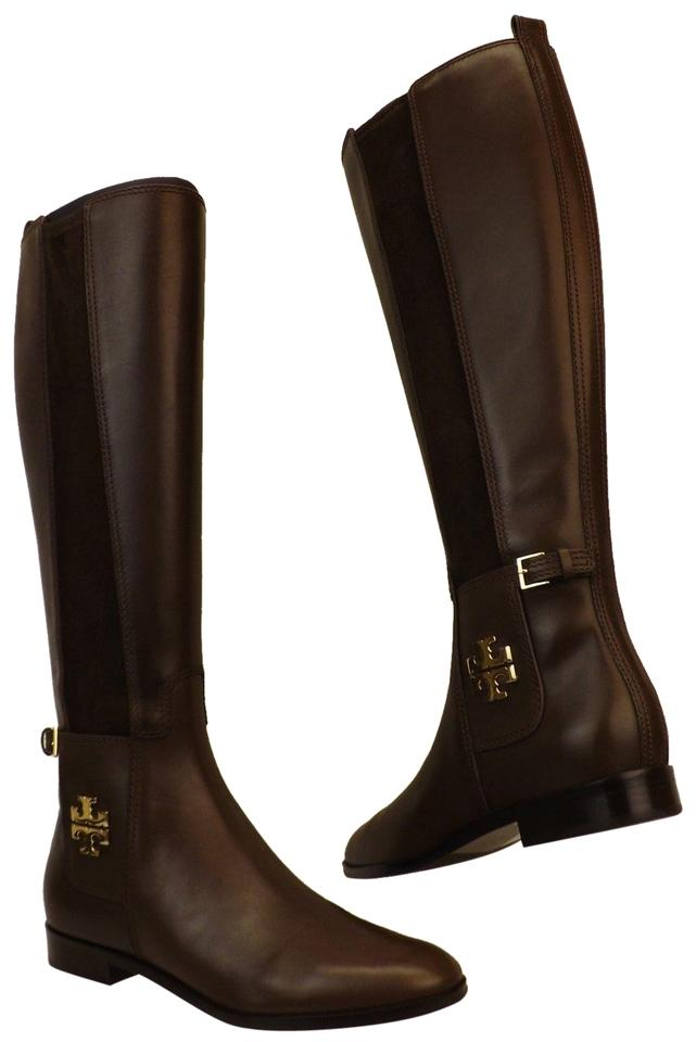 e46385523f4 Tory Burch Brown Wyatt Chocolate Leather Gold Reva Tall Elastic Riding Zip  Boots Booties