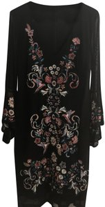 INC International Concepts short dress Black with Embroidery Mid-length Zip Statement Sleeves on Tradesy