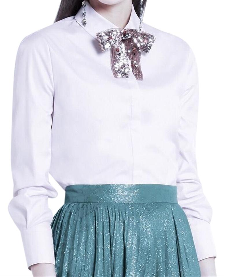 a8a45d876f1d15 Gucci Blue Embellished Cotton Poplin with Sequin Bow Button-down Top ...