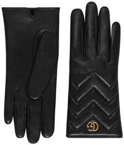 Gucci NIB Gucci chevron leather GG logo gloves - size L /8.5