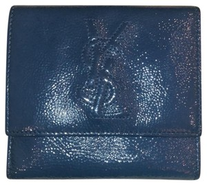 951ac48795b Saint Laurent YSL Blue Crinkled Patent Leather Wallet