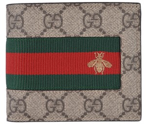Gucci NEW Gucci Men's GG Supreme Canvas Red Green Web BEE Bifold Wallet