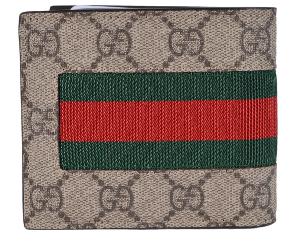 bdae5ad8214a Gucci NEW Gucci Men's GG Supreme Canvas Red Green Web BEE Bifold Wallet  Image 5. 123456