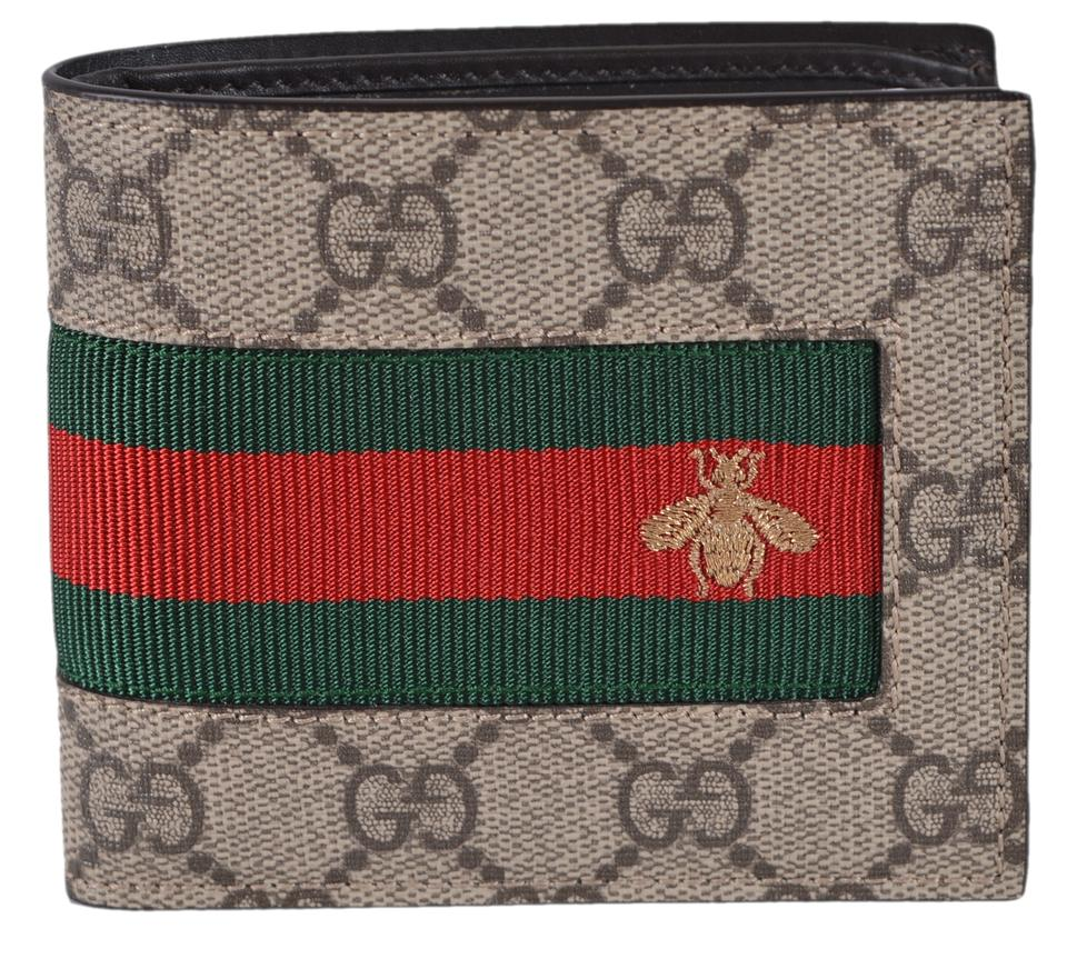 66499ccd987dad Gucci Multicolor New Men's Gg Supreme Canvas Red Green Web Bee Bifold Wallet