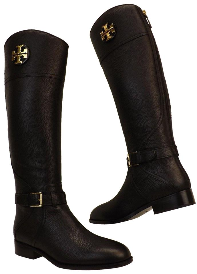 2ba91025d47a Tory Burch Black Adeline Tumbled Leather Reva Wide Calf Riding Zip Boots  Booties