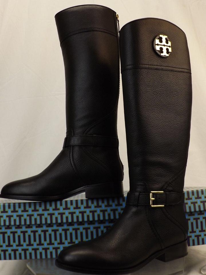 fd46a268dc20 Tory Burch Black Adeline Tumbled Leather Reva Wide Calf Riding Zip Boots Booties  Size US 6.5 Regular (M