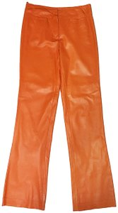 Billy Reid Leather Soft Leather William Straight Pants Orange