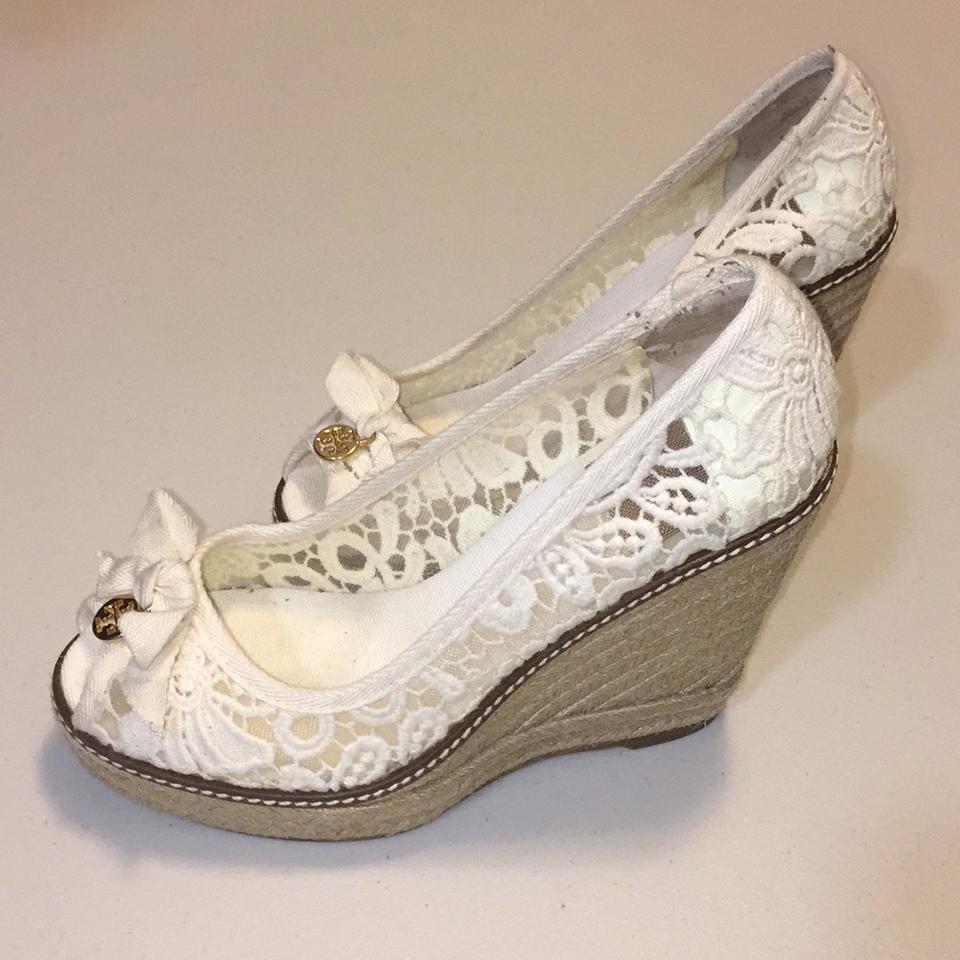 ef1767375579 Tory Burch Ivory Jackie Lace Espadrille Wedges Size US 7.5 Regular ...