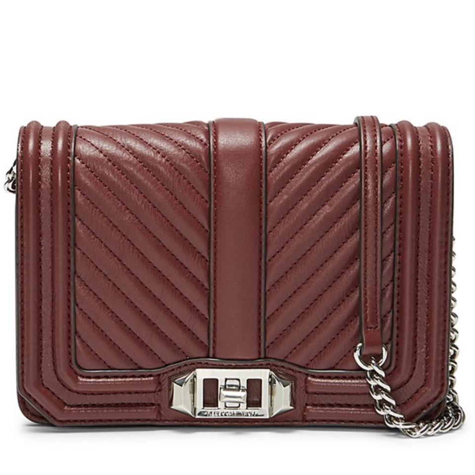 7a4c028028d7 Rebecca Minkoff Chevron Quilted Small Love Bordeaux Leather Cross ...