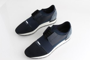 Balenciaga Blue Mixed Knit Lace-up Sneakers Shoes