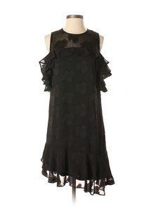 Donna Ricco short dress Black Burnout Ruffle Chiffon Floral Cocktail on Tradesy
