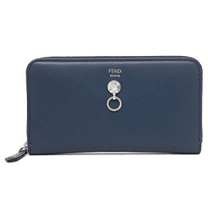 Fendi Fendi By The Way Navy Blue Leather Full Zip Stud Wallet 8M0299-F0KR1