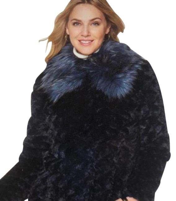 """Item - Navy W/Removable Indigo Collar A By """"Trolls"""" Faux Coat Size 14 (L)"""