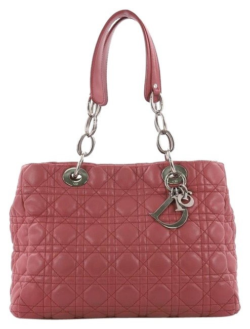 Item - Shopping Soft Cannage Quilt Small Pink Lambskin Leather Tote