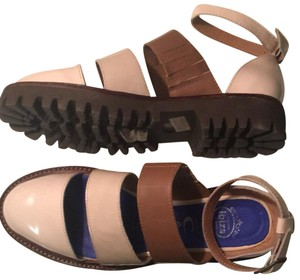 Jeffrey Campbell tan and brown patten leather Flats