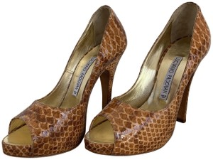 Luciano Padovan Snakeskin Patent Leather Leather Scales Peep Toe Light Brown Pumps