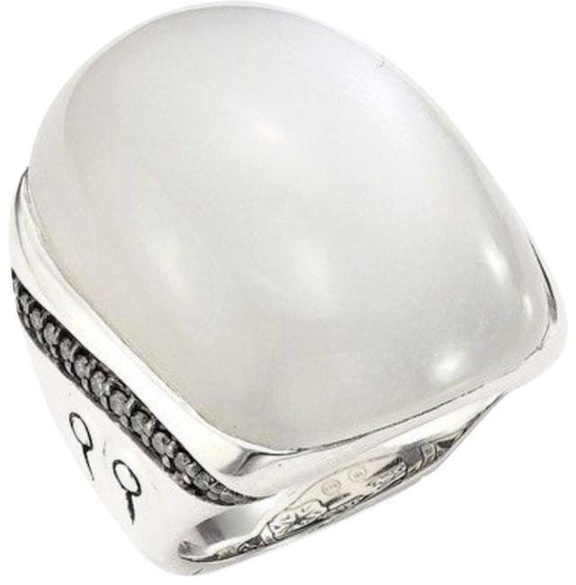 Item - White and Silver Sterling Moonstone Diamond Ring