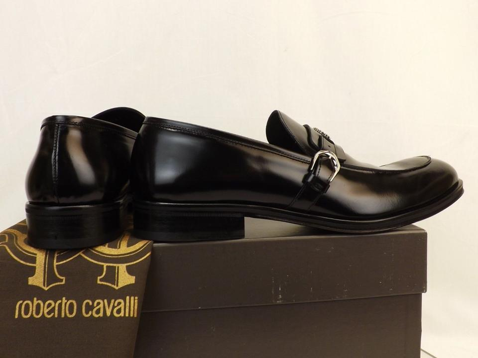 low priced d451a 1dbd6 Roberto Cavalli Black Leather Belted Buckle Logo Loafers 11 Us 44 Italy  Shoes 51% off retail
