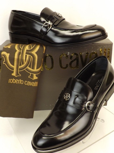 Item - Black Leather Belted Buckle Logo Loafers 8 Us 41 Italy Shoes