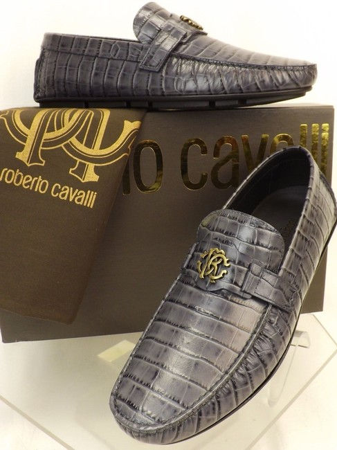 Item - Gray Croc Print Leather Logo Driving Loafers 8 Us 41 Italy Shoes