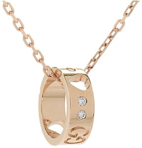 Gucci Gucci 18K Rose Gold Diamond Icon Amore Necklace