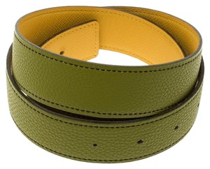 Hermès Anis Green and Yellow Leather Reversible Belt Strap 85cm
