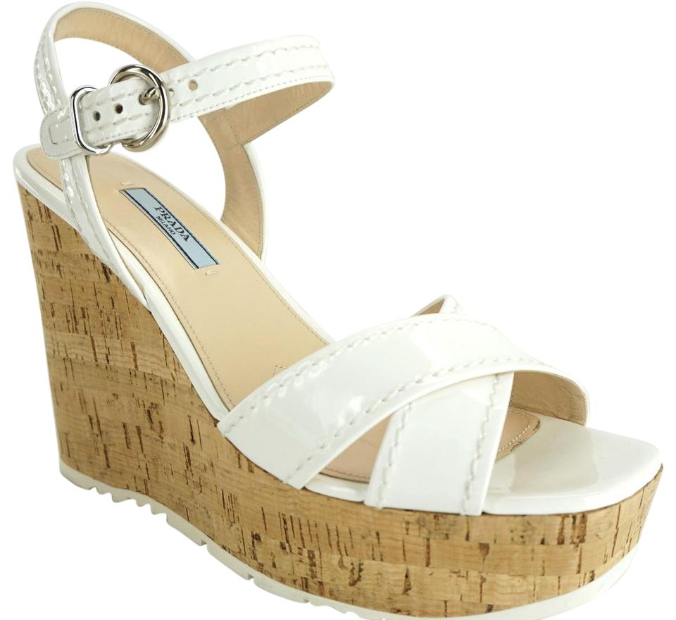 109e6bb2d54 Prada White Patent Leather Cork Espadrille Wedge Sandals Platforms ...