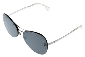 Chanel Silver/Black 4218 Mirror Quilted Rimless Aviator Sunglasses