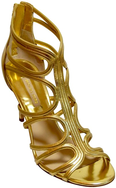 Item - Gold Runway Cage Zip Back Sandals Size EU 40 (Approx. US 10) Regular (M, B)