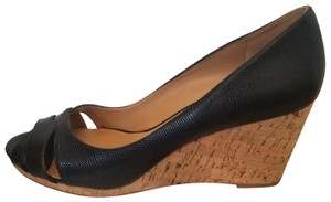 Nine West Leather Peep Toe Textured Cork Black Wedges