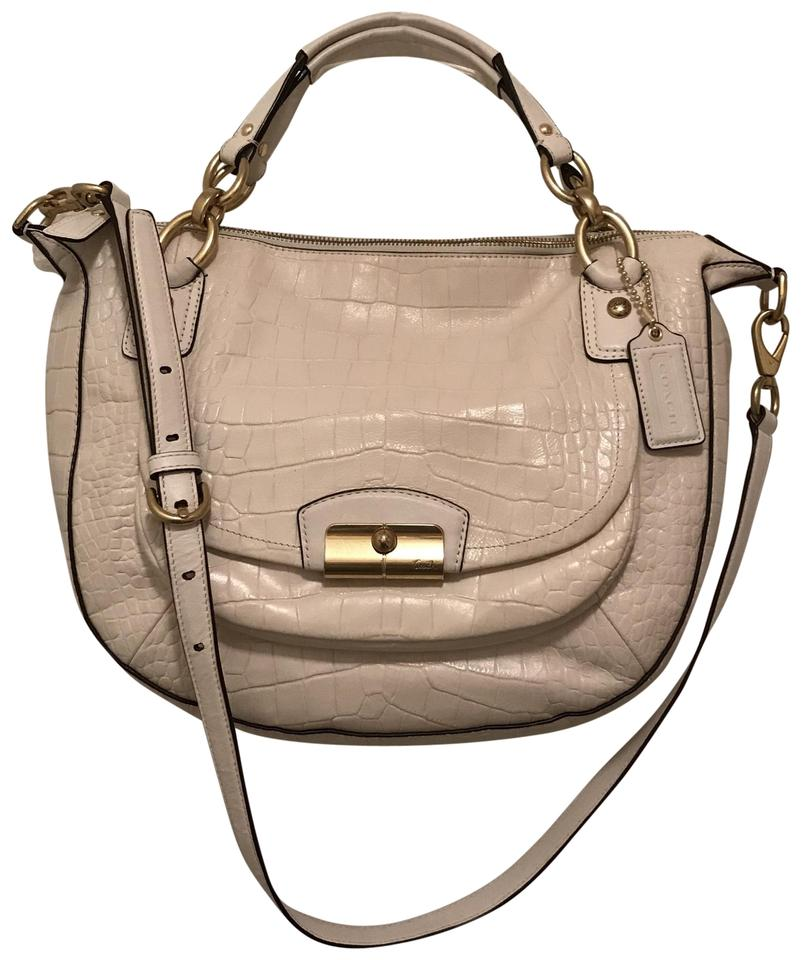 8def1e51bf35 Coach Kristin Spectator Croc Gator Embossed Round F22924 White Gold Leather  Satchel