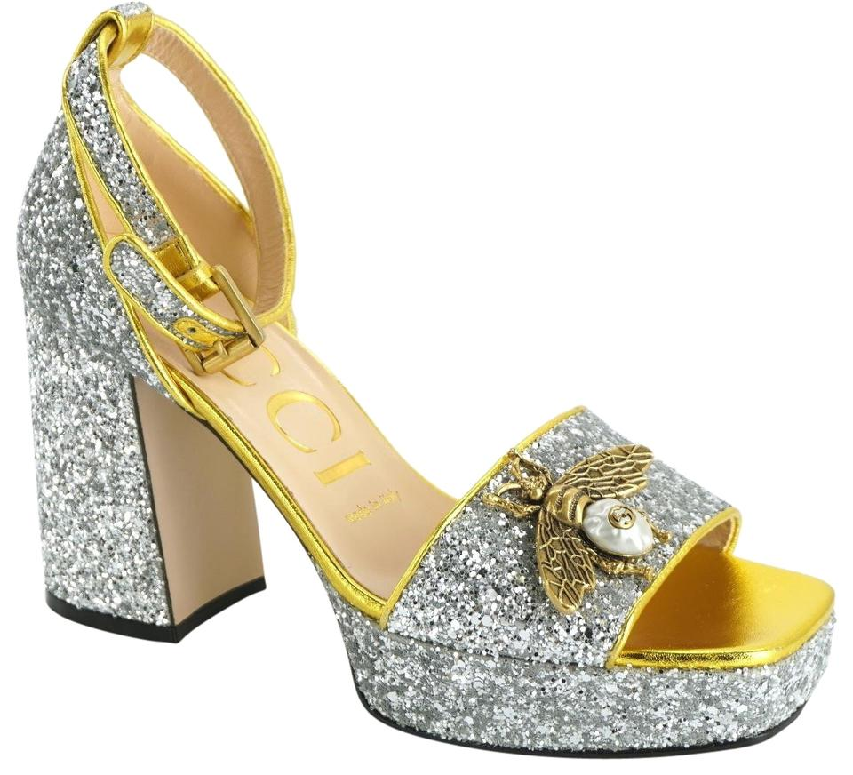 5e806d6521d2 Gucci Silver Glitter Soko Block Heel D'orsay Bee Ankle Strap Sandals ...