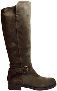 Alberto Fermani Tall Equestrian Style Stacked Heel Knee-high Taupe Boots
