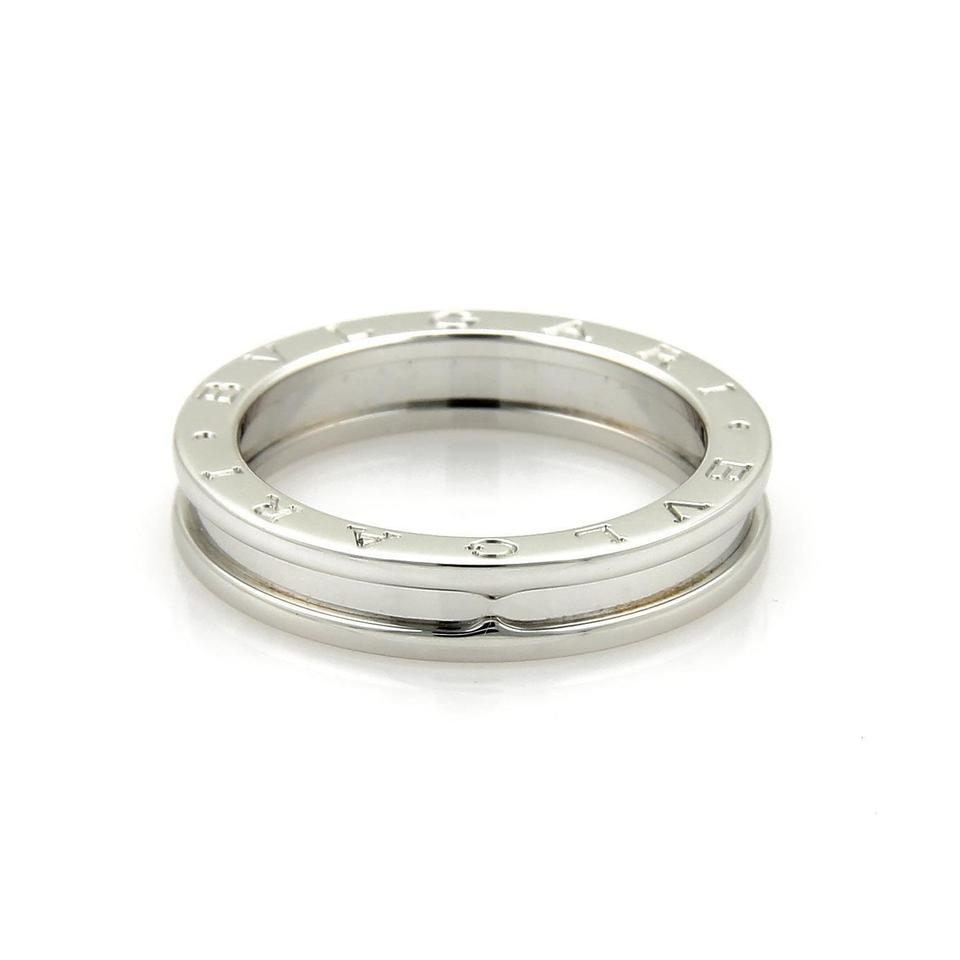 8a75646598514 BVLGARI Bulgari B Zero-1 Single 18k White Gold 5mm Band Ring Size EU 54 ...