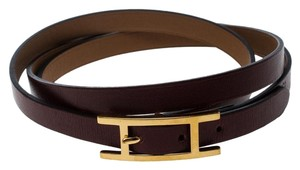 Hermès Hapi 3 Brown Leather Gold Plated Wrap Bracelet M
