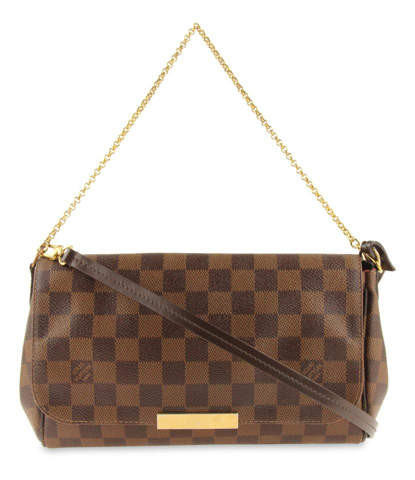 Louis Vuitton Favorite Mm Damier Ebene Brown Coated Canvas Cross ... ed8a54bbf51