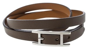 Hermès Hapi 3 Etoupe Leather Palladium Plated Wrap Bracelet S