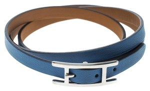 Hermès Hapi 3 Blue Brighton Leather Palladium Plated Wrap Bracelet M